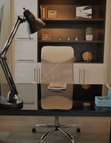 Furniture, Office chair, Chair, Shelf, Computer desk, Desk, Interior design, Lamp, Room, Office, Small office/home office, Virtual office