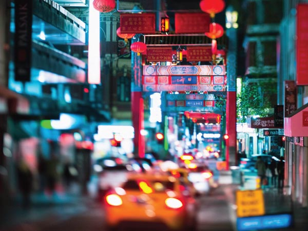 Red, Urban area, Light, Night, Town, Street, Metropolis, Snapshot, City, Human settlement, Transport, Lighting, Metropolitan area, Mode of transport, Infrastructure, Architecture, Traffic, Road, Downtown, Colorfulness, Chinatown Melbourne 墨尔本唐人街