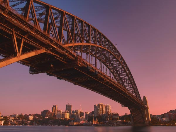Bridge, Cantilever bridge, Tied-arch bridge, Landmark, Sky, Skyway, Fixed link, Arch bridge, Girder bridge, River, Night, Architecture, Truss bridge, Dusk, Brug, City, Metropolitan area, Evening, Nonbuilding structure, Sydney Harbour Bridge, Sydney Harbour Bridge, Port Jackson Bay, The Rocks, Circular Quay