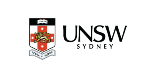 Logo, Font, Product, Text, Red, Brand, Graphics, Trademark, Signage, Label, Crest, Graphic design, University of New South Wales, Logo