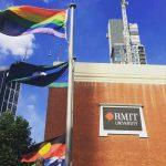 Flag, Sky, Architecture, Metropolitan area, Banner, Building, City, Advertising, RMIT University, RMIT University