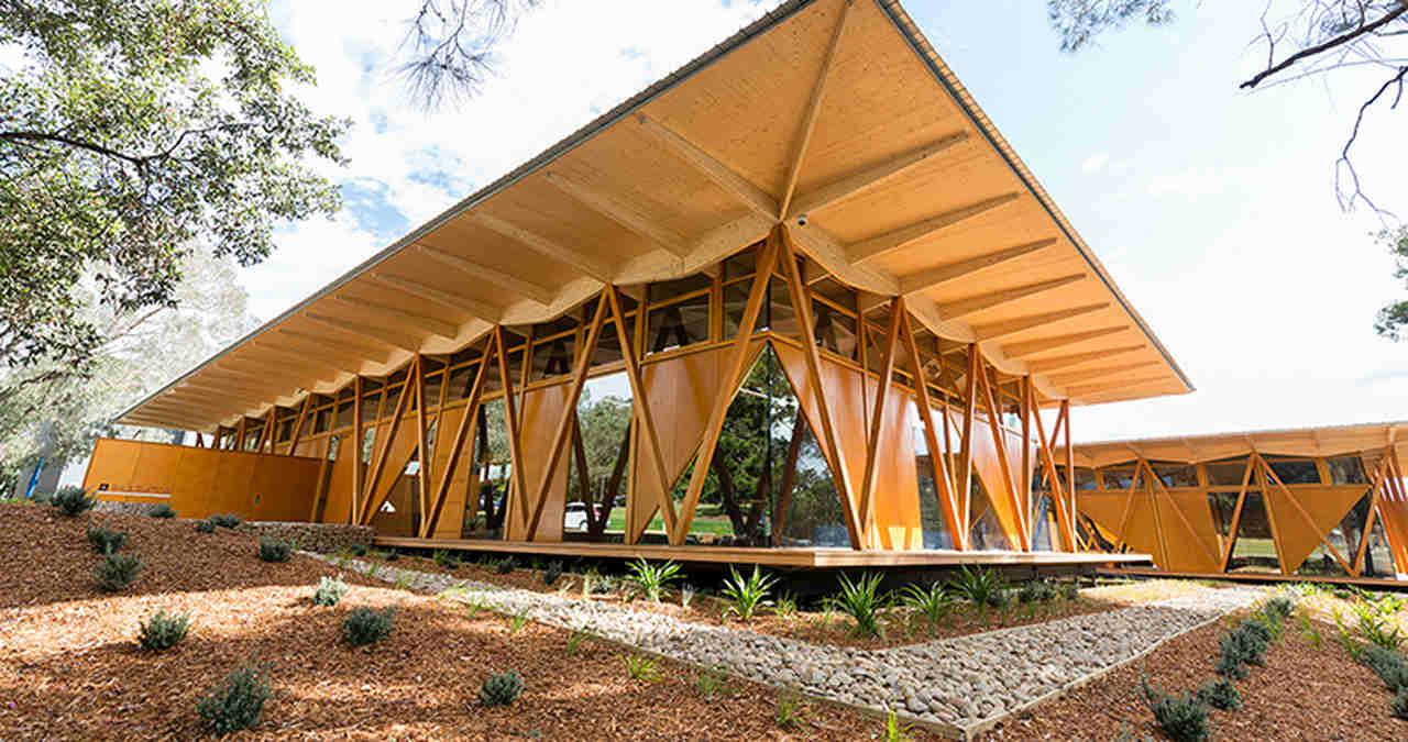 Architecture, Building, House, Roof, Pavilion, Tree, Home, Landscape, Room, Shade, Macquarie University, Macquarie University Incubator, Faculty of Business and Economics, University