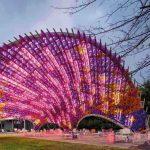 Landmark, Tourist attraction, Light, Tree, Sky, Architecture, Magenta, Fun, Recreation, Ferris wheel, Plant, National Gallery of Victoria, Architecture, Pavilion, Design