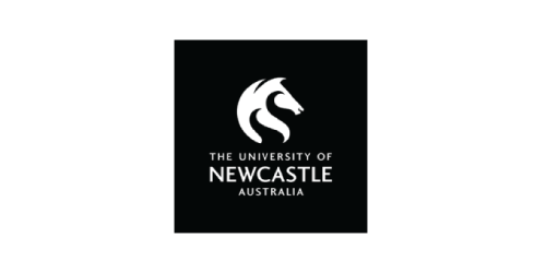 Logo, White, Text, Font, Black, Brand, Trademark, Graphic design, Graphics, Design, Artwork, Illustration, University of Newcastle, Logo