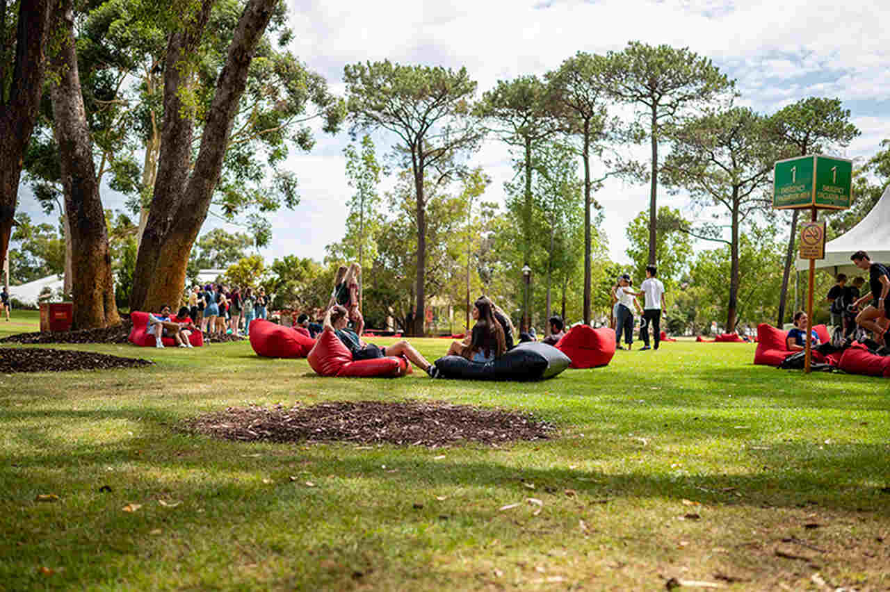 Red, Grass, Tree, Leisure, Botany, Lawn, Fun, Park, Woody plant, Recreation, Vacation, Plant, Sitting, Garden, Tourism, Physical fitness