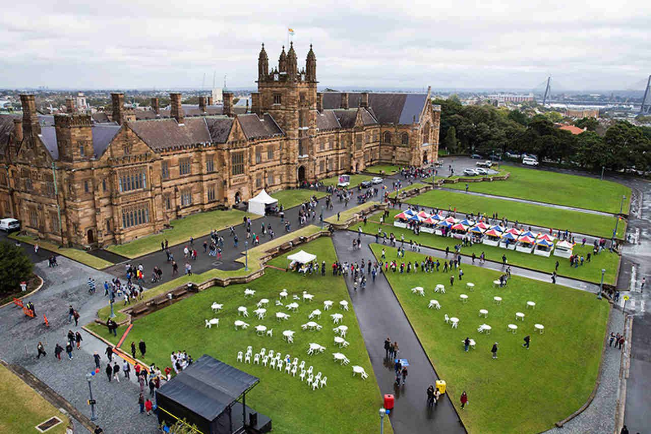 Architecture, Town, Aerial photography, Public space, City, Grass, Sport venue, Building, Stadium, Tourism, Castle, Games, Landscape, Leisure, Photography, The University of Sydney, St Paul's College, UNSW Sydney, The University of Sydney, University