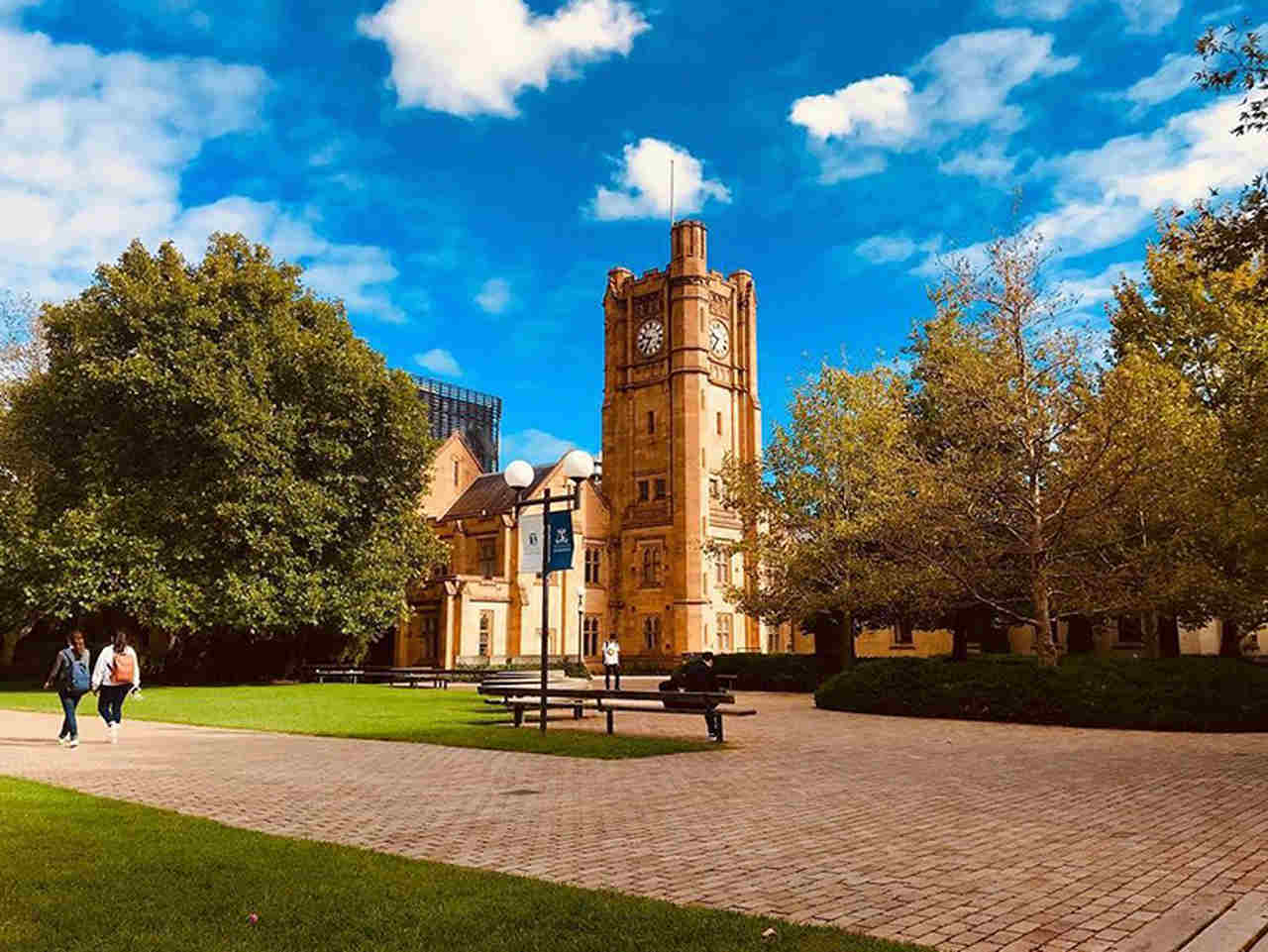 Sky, Landmark, Tree, Grass, Estate, Architecture, Building, Public space, Cloud, Campus, Stately home, City, Sunlight, Park, Monument, House, Lawn, College, Castle, University of Melbourne, The University of Sydney, University, Group of Eight, Education