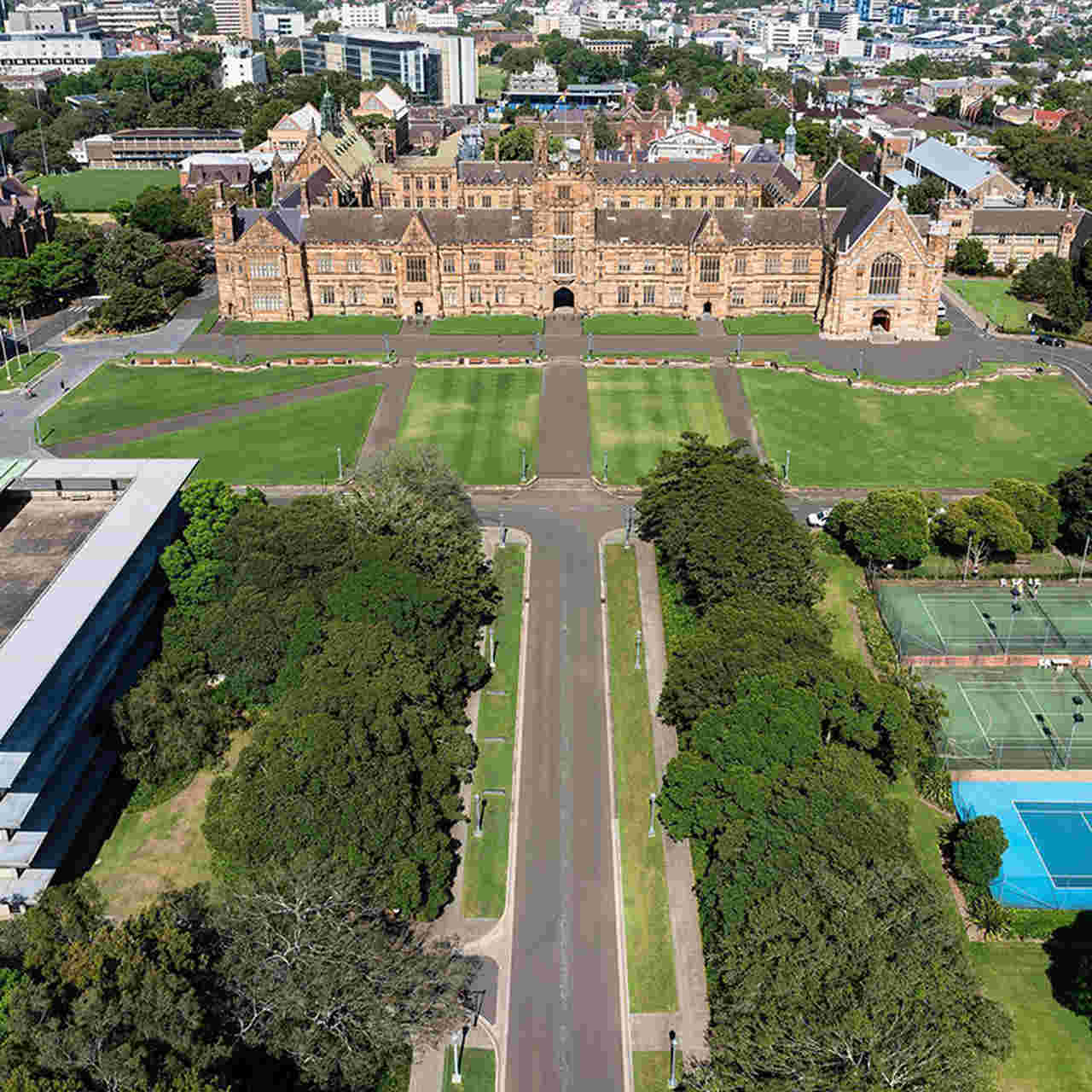 Architecture, Landmark, Aerial photography, Bird's-eye view, Building, Urban design, Landscape, City, Urban area, Tree, Garden, Grass, Plant, Photography, The University of Sydney, UNSW Sydney, University, Times Higher Education World University Rankings