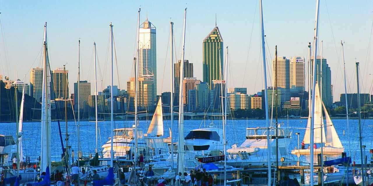 Skyline, Cityscape, City, Skyscraper, Metropolitan area, Urban area, Human settlement, Marina, Metropolis, Tower block, Harbor, Vehicle, Downtown, Sky, Tower, Boat, Reflection, Building, Architecture, Fremantle, Rottnest Island, City