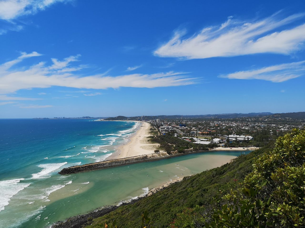 Body of water, Sky, Coast, Sea, Ocean, Shore, Beach, Coastal and oceanic landforms, Blue, Natural landscape, Headland, Cloud, Promontory, Bay, Azure, Water resources, Water, Vacation, Tourism, Cape, Tumgun Lookout, Burleigh Head National Park