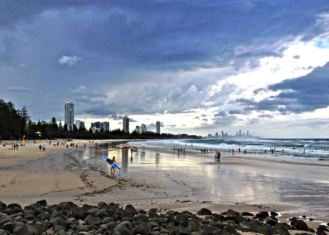 Beach, Sky, Shore, Cloud, Coast, Sea, Ocean, Sand, Water, Wave, Coastal and oceanic landforms, Wind wave, Tree, Vacation, Tide, Horizon, Tourism, Tweed Heads